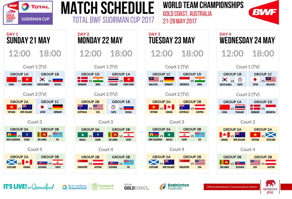 2017 sudirman cup match schedule