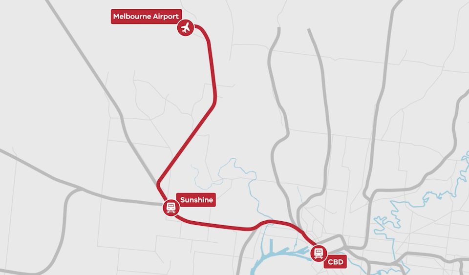 Melbourne Airport Rail Link Sunshine Route