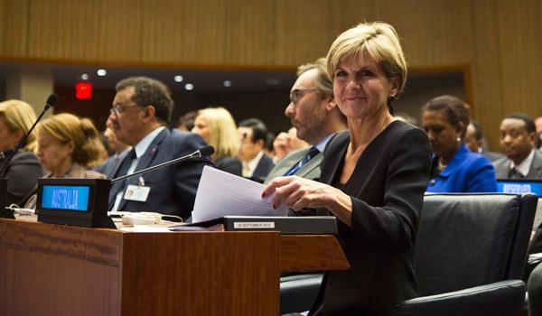 비숍, 유엔총회장 호주대표석에 남친 대동