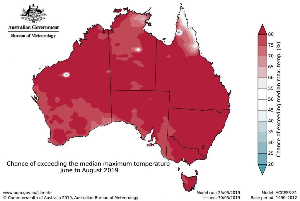 BOM 2019 winter outlook max temp