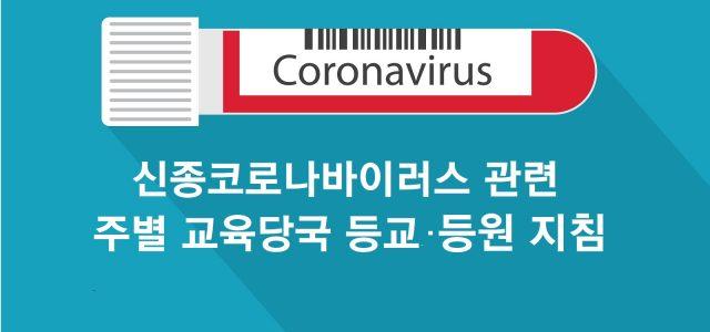 [신종 코로나바이러스] 주별 학교 및 유아원 등교·등원 지침 (30일 기준)
