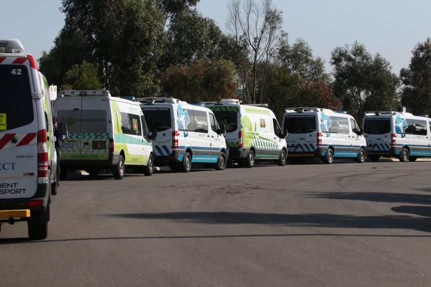 A row of patient transport vans are parked outside the Epping Gardens aged care home.
